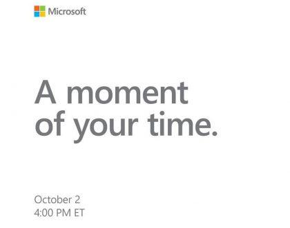 Microsoftin mediakutsu tilaisuuteen 2. lokakuuta 2018.