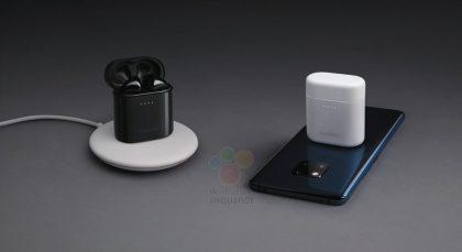 Huawei Mate 20 Pro pystyy lataamaan langattomasti Freebuds 2 Pro -kuulokkeiden koteloa. Kuvassa esille pääsee myös puhelimen kolmoistakakamera.