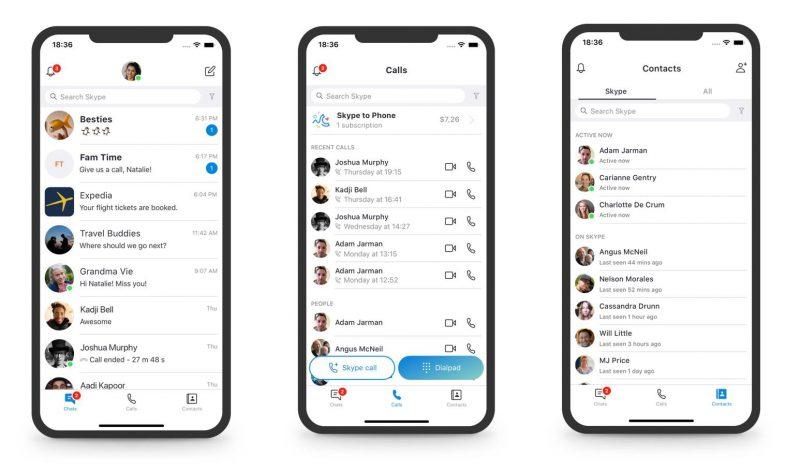 Skypen kolme päänäkymää ovat jatkossa keskustelut, puhelut sekä yhteystiedot.