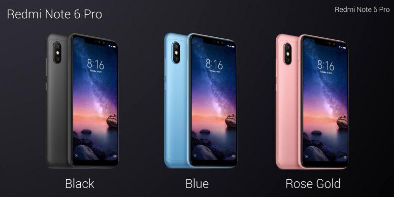 Xiaomi Redmi Note 6 Pro eri väreinä.