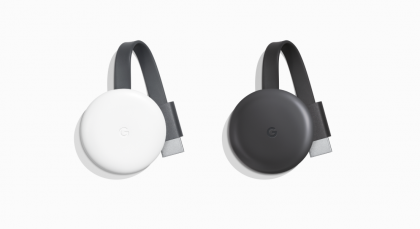 Googlen hiljattain designiltaan uudistettu Chromecast.