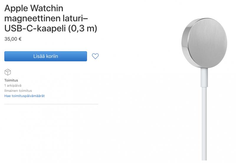 Applen uusi USB-C-latauskaapeli Apple Watchille. Kelloon kaapeli liittyy tutulla magneettikiinniityksellä.