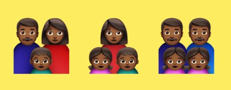 Mukaan on tulossa ihonväriltään tummempia perheitä. Kuva: Emojipedia.