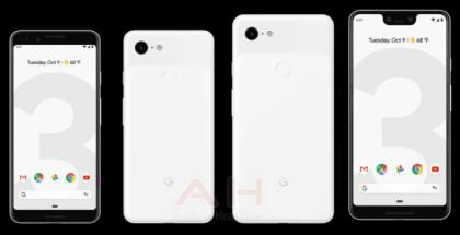 Kolme Pixel 3 -puhelinten värivaihtoehtoa AndroidHeadlinesin vuotamassa kuvassa.