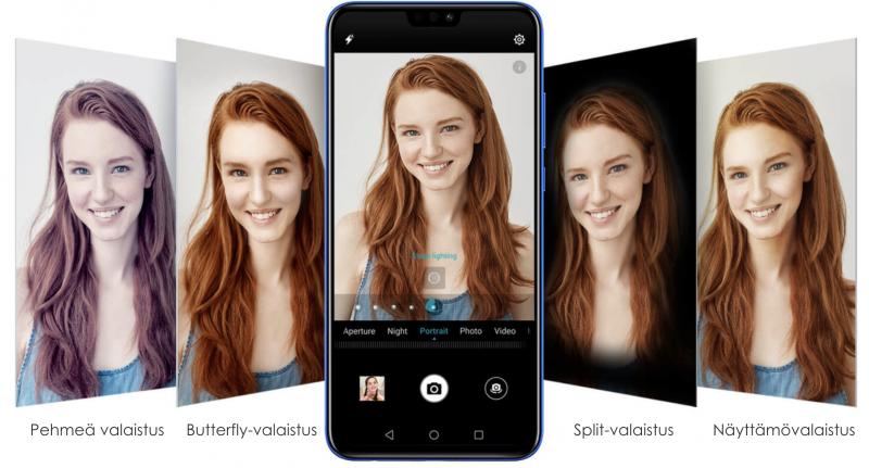 Selfie-kuvia voi tyylitellä erilaisin valaistusefektein.