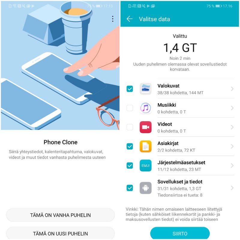 Phone Clonen käyttö on helppoa. Siirrettävät tiedot valitaan vanhan puhelimen näytöltä ja siirto uuteen hoituu käden käänteessä.