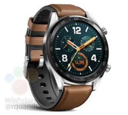 Huawei Watch GT:n klassisempi versio. WinFuture.de-sivustolla aiemmin julkaistu vuotanut kuva.