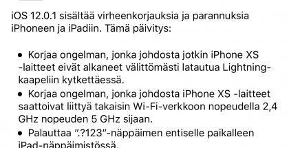 iOS 12.0.1:n julkaisutiedot.