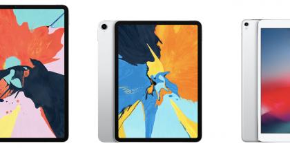 Uudet 12,9 ja 11 tuuman iPad Prot sekä viime vuoden 10,5 tuuman iPad Pro.