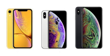 Applen vuoden 2018 iPhone-uutuudet: iPhone XR, iPhone XS ja iPhone XS Max. Koko kolmikko tukee Face ID -kasvojentunnistusta.