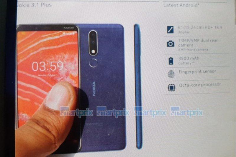 Nokia 3.1 Plussan myyntipakkaus Smartprix-sivuston kuvassa.