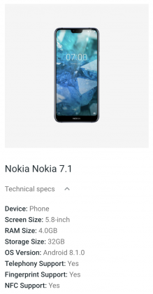 Nokia 7.1 Googlen Android Enterprise Recommended -sivuilla.