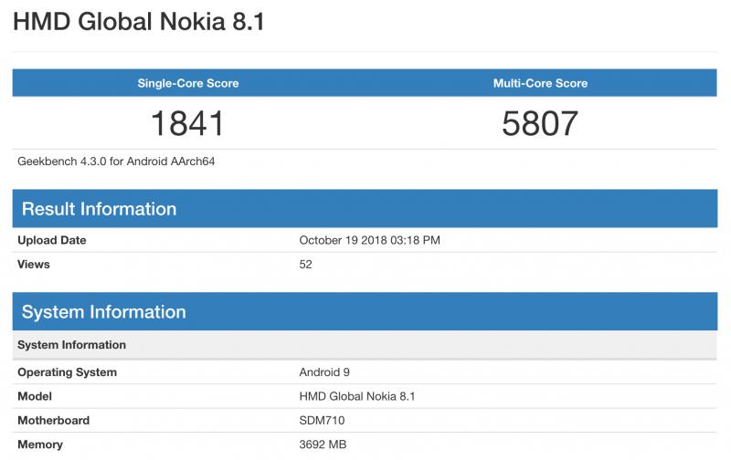 Nokiai 8.1:n tiedot GeekBenchissä.