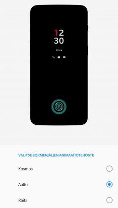 OnePlus 6T:n sormenjälkitunnistuksen animaatiotehosteen voi valita kolmesta vaihtoehdosta.