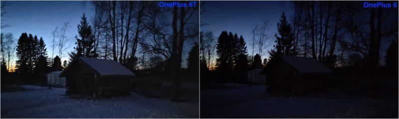 Vertailussa OnePlus 6T:n uusi erillinen Yö-kuvaustila sekä OnePlus 6 perustilassa.