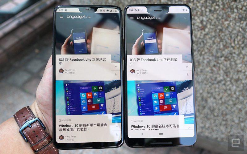 OnePlus 6 vs. Pixel 3 XL. Kuva: Engadget.