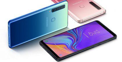 Samsungin uuden Galaxy A9:n kolme eri värivaihtoehtoa.