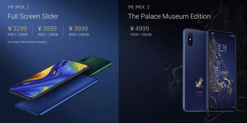 Xiaomi Mi MIX 3:n versiot.