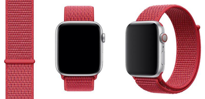 Uusi punainen PRODUCT(RED) Sport Loop -ranneke Apple Watchille.