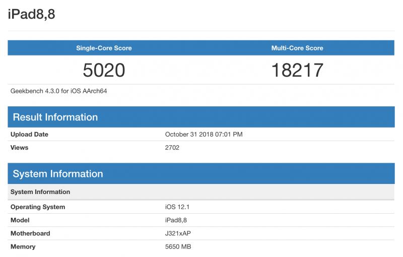 GeekBench-tulos uudelle iPad Prolle.