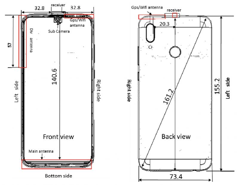 Kuvat Huawei POT-LX3 -älypuhelimesta FCC:n tietokannassa.