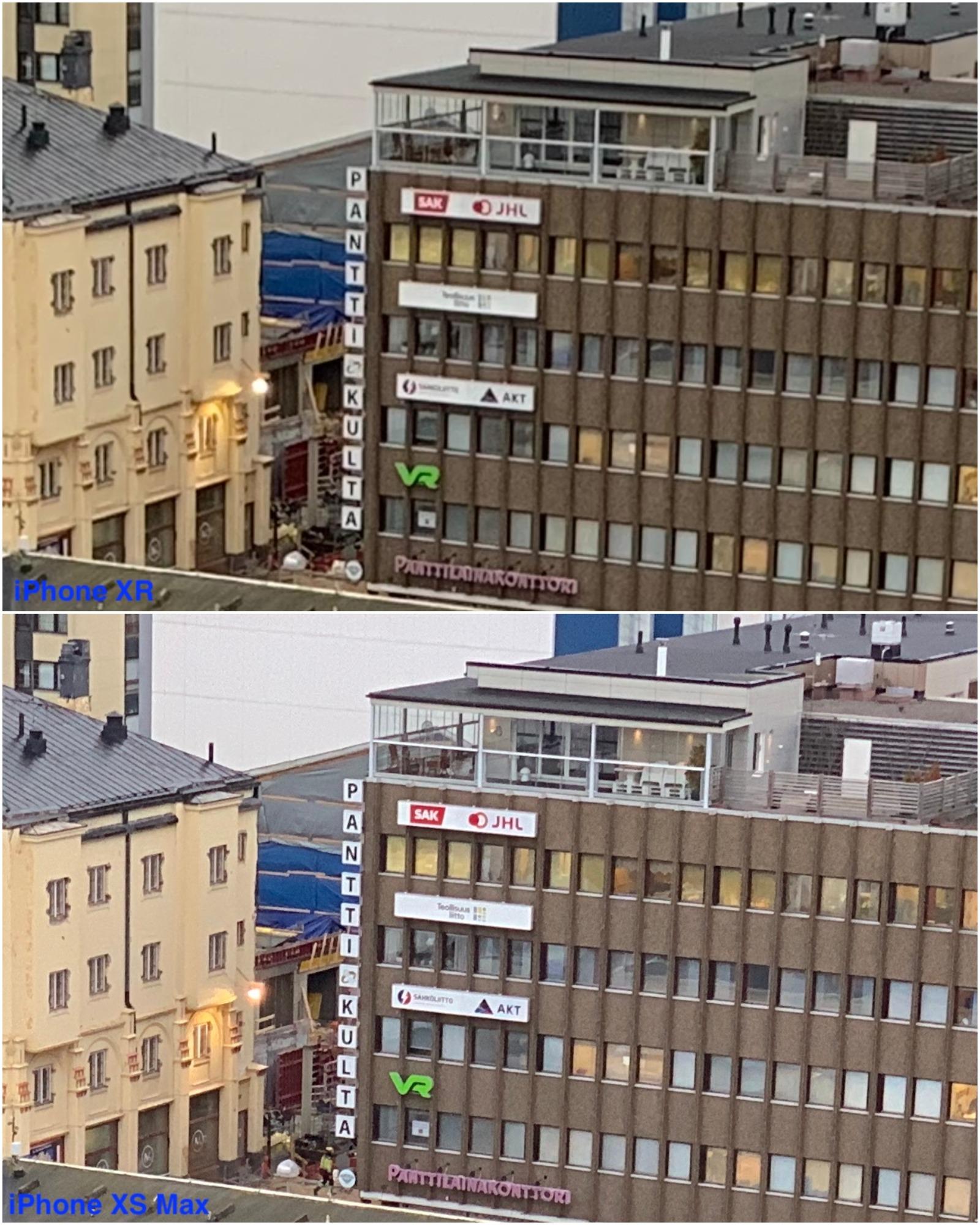 Kuvat on otettu iPhone XS Maxilla 2x zoomilla ja iPhone XR:llä noin 2x zoomilla (zoom ainoastaan liukusäätimellä, ei 2x-tilaa valitsimella), jonka jälkeen kuvista on rajattu vielä lähempään tarkasteluun valittu alue.