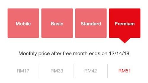 Netflixin tilausvaihtoehdot Malesiassa. Kokeilussa edullisempi Mobile-tilausvaihtoehto.