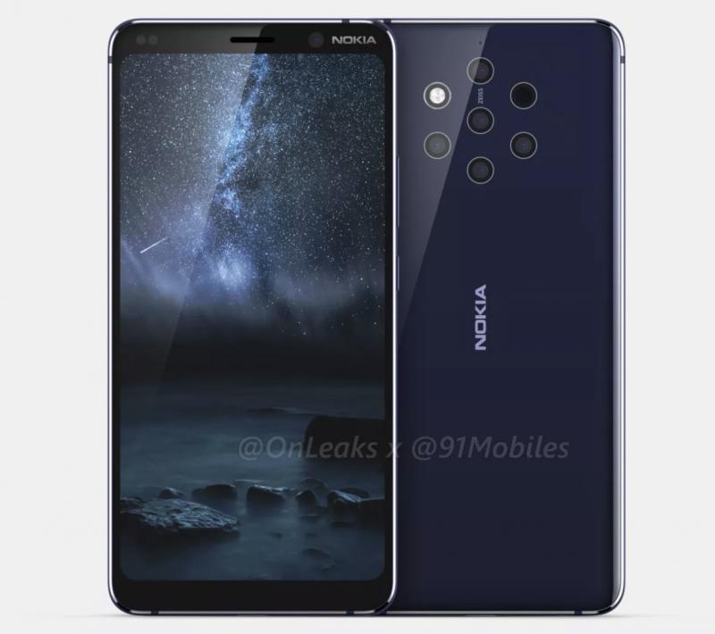 Tällaista puhelimesta odotetaan laajasti: Nokia 9 PureView on varustettu viidellä takakameralla ja kookkaalla mutta lovettomalla näytöllä. Kuva: OnLeaks / 91mobiles.