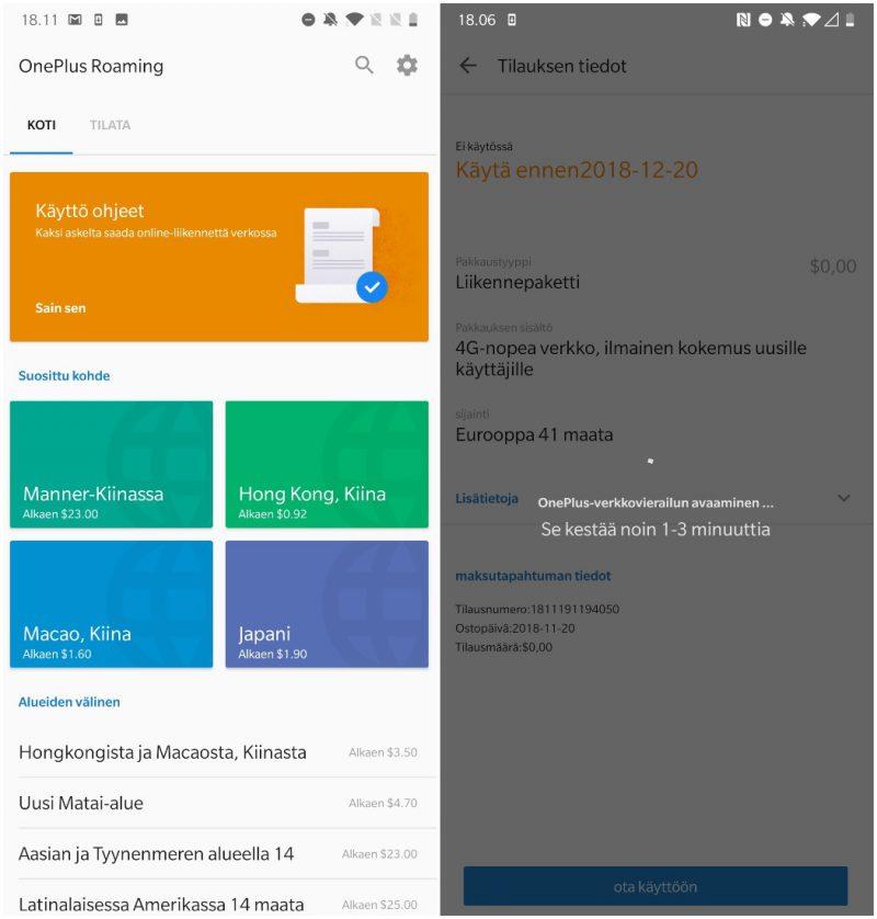 OnePlus Roaming tarjoaa datapaketteja käytettäväksi ympäri maailmaa. Kokeilimme toimintoa tilaamalla ilmaisen Eurooppa-paketin, jolla yhteys muodostui ongelmitta.