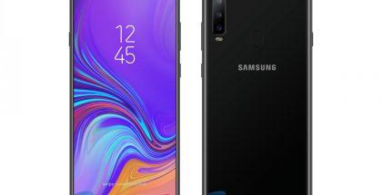 Samsung Galaxy A8s konseptikuvassa. Tältä älypuhelimen odotetaan suunnilleen näyttävän.