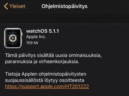 watchOS 5.1.1 -päivitys on nyt ladattavissa.