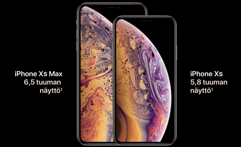 Osassa markkinointikuviaan Apple piilottaa näytön yläreunan loven mustalla taustakuvalla.