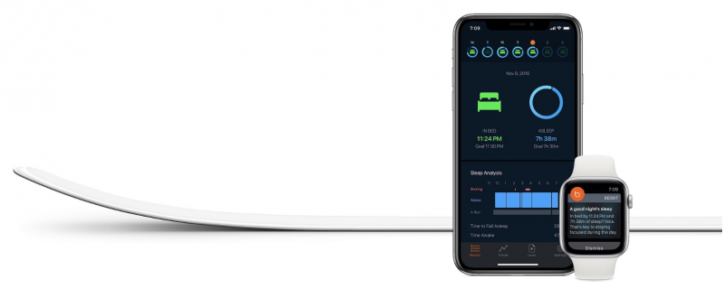 Beddit Sleep Monitor 3.5 ja iPhone sekä Apple Watch.