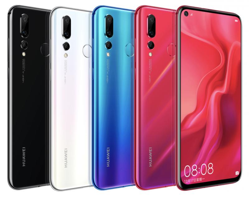 Huawei Nova 4:n neljä värivaihtoehtoa.