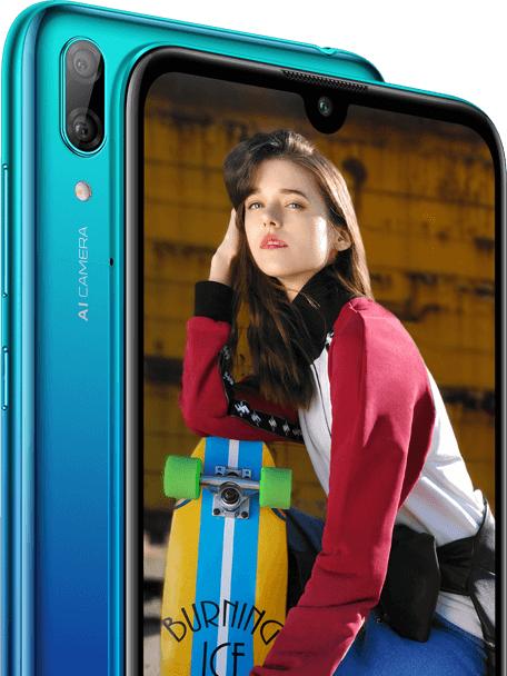 Takana Huawei Y7 (2019) sisältää kaksoiskameran.