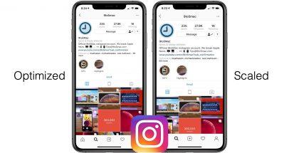 Vasemmalla optimoitu Instagram, oikealla Instagram ilman optimointia jolloin se näkyy liian suurena, skaalattuna suuremmalle näytöllä.