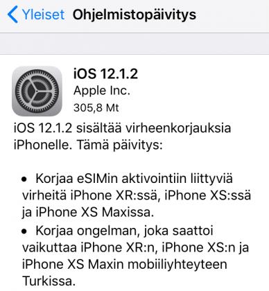 iOS 12.1.2 -päivityksen tiedot.