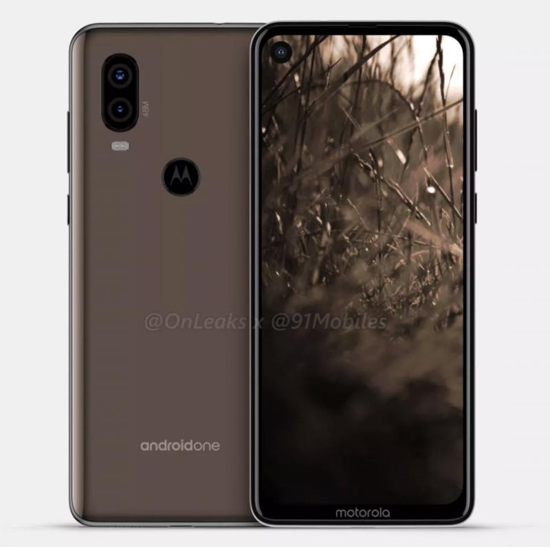 Motorola P40:ssä on reikä näytössä etukameralle sekä takana kaksoiskamera. Kuva: OnLeaks / 91mobiles.