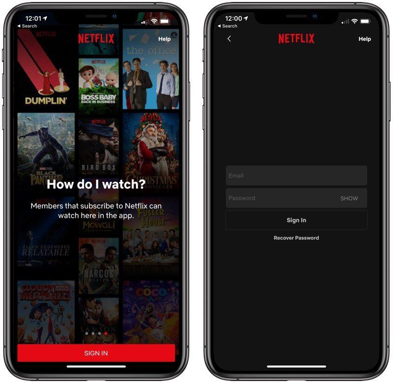 Netflix-tilaajaksi ei voi enää liittyä sen iPhone-sovelluksen kautta.