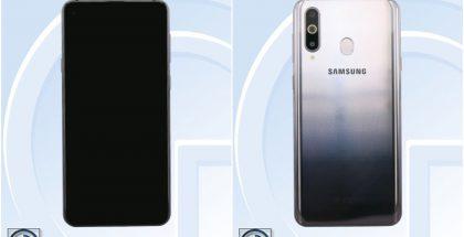 Galaxy A8s:ssä on aukko näytön vasemmassa yläkulmassa etukameralle. Takana kameroita on kolme.