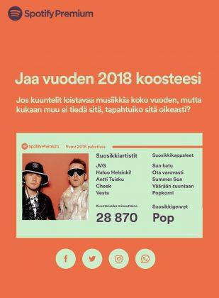 Spotify mahdollistaa vuosikoosteen jakamisen.