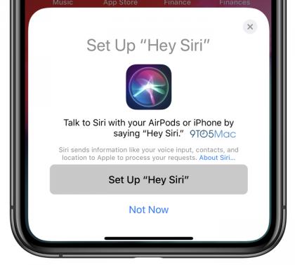 iOS 12.2:sta löytyy piilotettuna ohje Hei Sirin käyttöönotosta AirPods-kuulokkeissa.