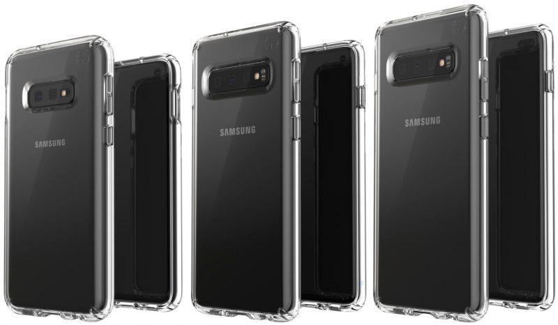 Evan Blassin julkaisema kuva Galaxy S10 -malleista suojakuorten sisällä.