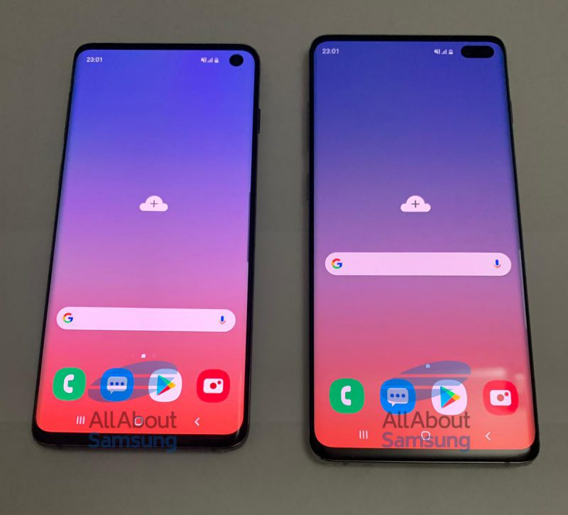 Galaxy S10:ssä on näytön yläkulmassa yksi etukamera, Galaxy S10+:ssa kaksi.