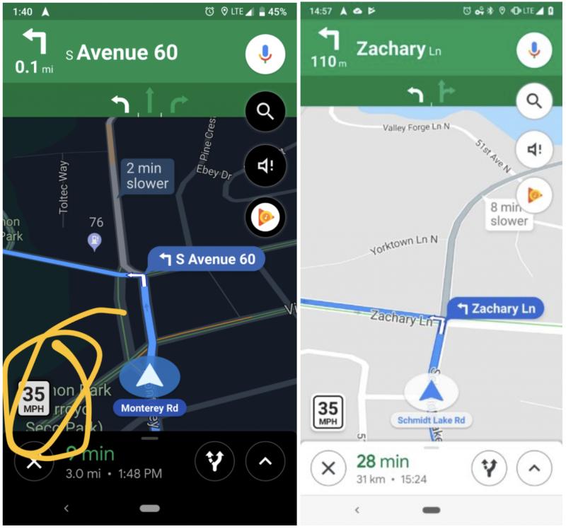 Nopeusrajoitukset näkyvät näin Google Mapsissa. Kuva: Android Police.