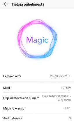 Honor View20:ssä on Magic UI -ohjelmisto, joka kuitenkin on lähes täysin sama asia kuin EMUI - ainakin toistaiseksi.
