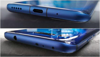 Honor View20:ssä on USB-C-liitännän ohella myös erillinen 3,5 millimetrin kuulokeliitäntä, jonka lisäksi yläpäästä löytyvät myös infrapunalähetin sekä valoisuuden tunnistin.