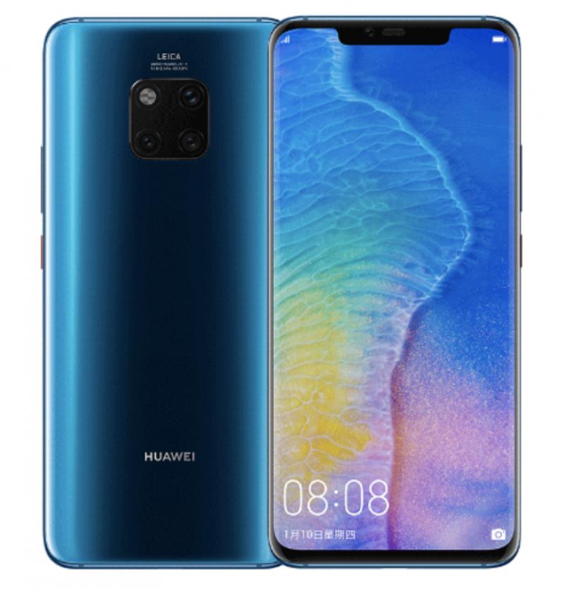 Huawei Mate 20 Pro kiiltävänsinisenä.