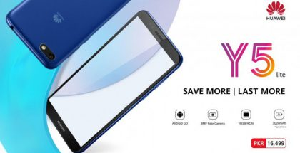 Huawei Y5 Litessä on 18:9-kuvasuhteen näyttö.