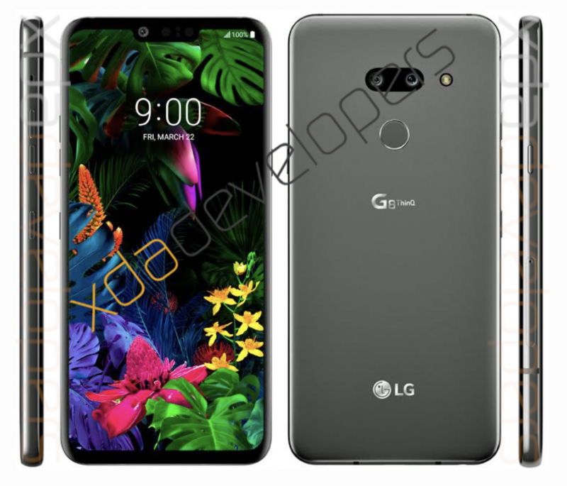 LG G8 ThinQ. xda-developersin julkaisema virallinen kuva.